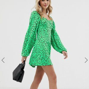 ASOS DESIGN mini dress with sweetheart neck in gre